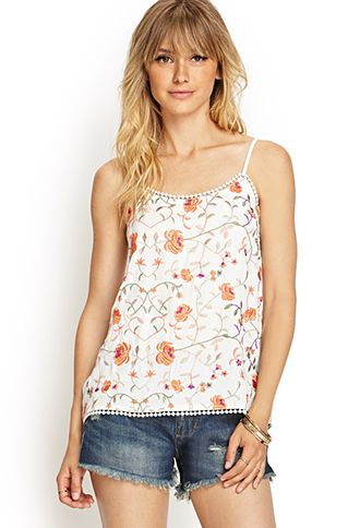 Embroidered Keyhole Cami | FOREVER21