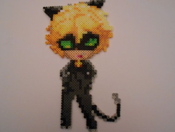 Perler bead art of Adrien as Chat Noir from the cartoon Miraculous Ladybug. -Partially melted on both sides of the beads.  -If under 10 items are bought from my store at once, additional shipping prices will not be added.  -If you wish to request a Perler bead piece, feel free to contact me. I am always taking suggestions however, prices vary on size.  -US and Canada only
