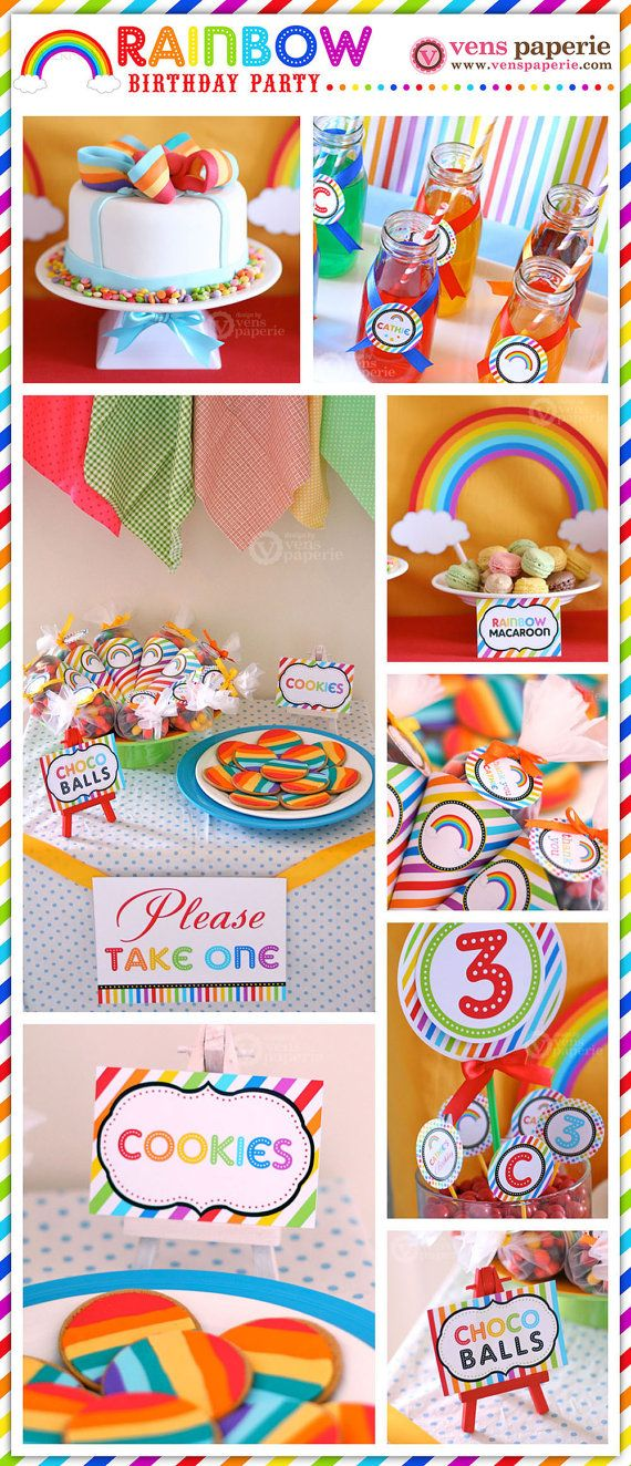 Rainbow Birthday Party Package Personalized FULL Collection