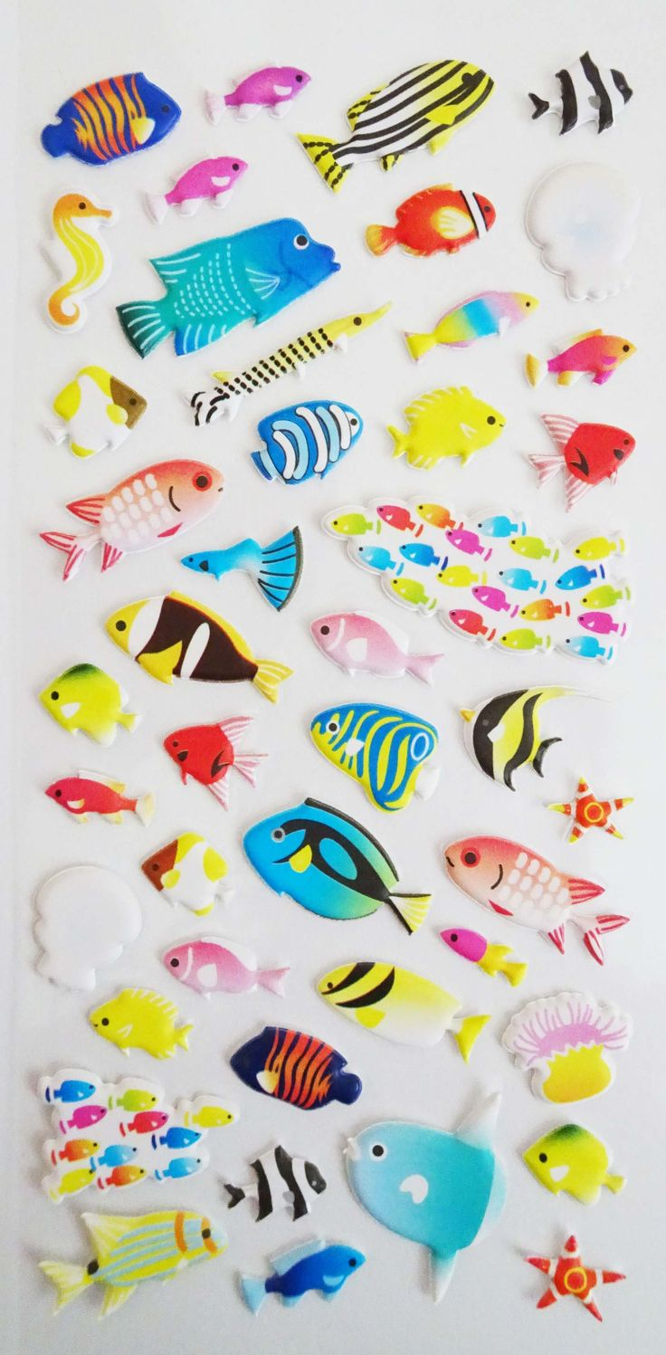 Deep Sea Beauties Fish Stickers. Ships worldwide from Canada!