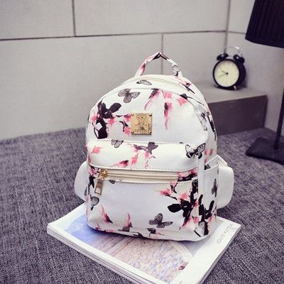 Pretty Elegant Floral Print Quality PU Leather Fashion Backpack 3 Colors