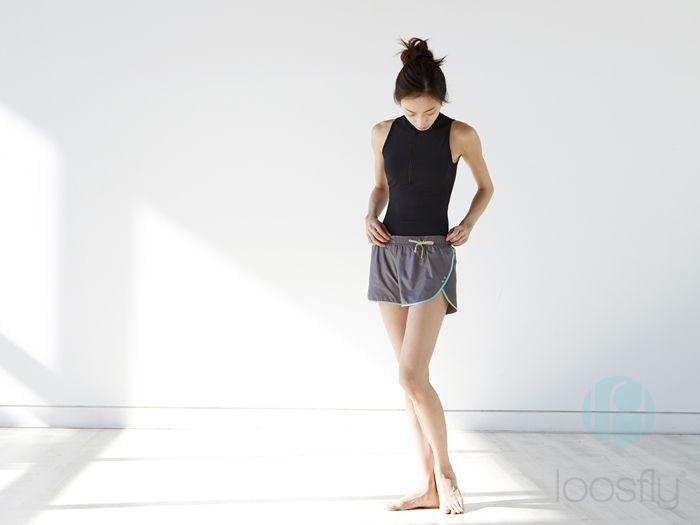 [루스플라이 룩북] #011 하이넥 집업 메쉬 레오타드(블랙) + 그레이 스트랩 반바지 [loosfly Look Book] #011 Highneck Zipup Mesh Leotard(Black) + Gray Strap Shorts