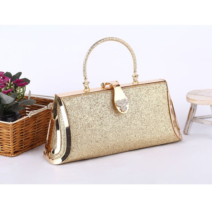 Luxury Handbag Gold Glitter Clutch Evening