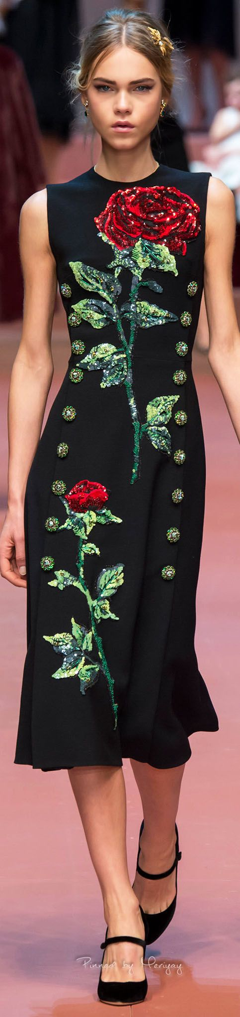 Dolce & Gabbana ~ Fall Black Midi Dress w Red Rose Applique, 2015.