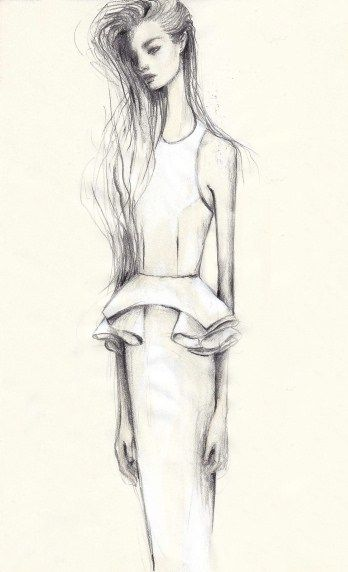 Fashion illustration - feminine fashion drawing, peplum dress sketch // Pippa McManus for Manning Cartell