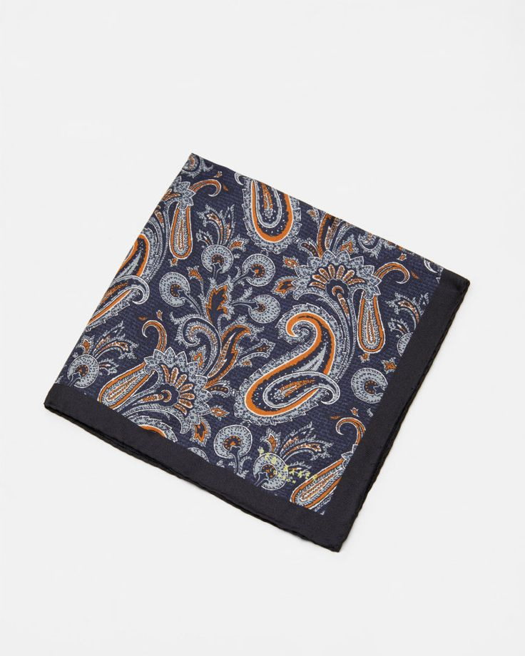 Paisley silk pocket square - Navy | Ties and Pocket Squares (Remove) | Ted Baker UK