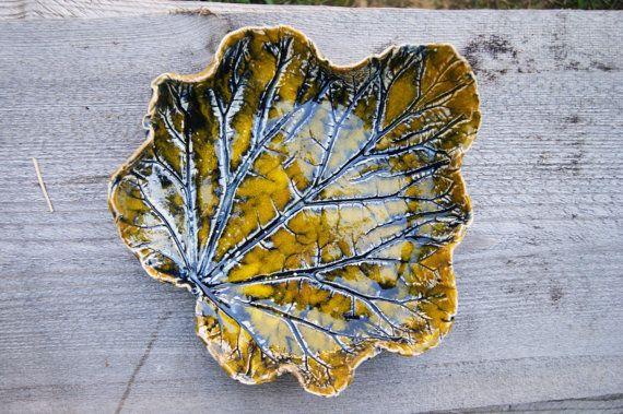 Ceramic leaf bowl, Ceramic bowl, ceramic dish, ceramic leaf, yellow leaf, yellow bowl, Ceramic Leaf Dish, rhubarb leaf, Leaf Plateby GlinianaKoniczynka