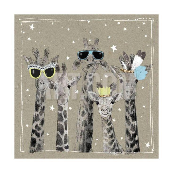 Подруге рождением, открытка жирафик