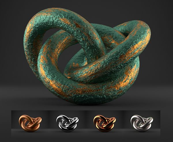 3D Cycles Shaders - 5 Different Metal Shaders, High Quality Material For Blender Cycles Rendrer - PACK 1