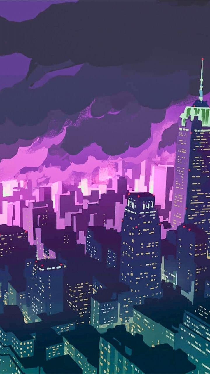 City Night Cityscape Building Art 720x1280 Wallpaper City