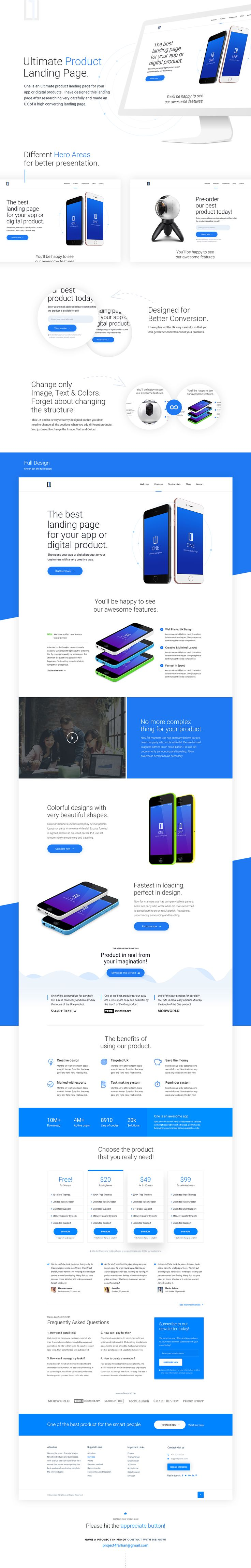 One is an ultimate product landing page for your app or digital products. I have designed this landing page after researching very carefully and made anUX of a high converting landing page.