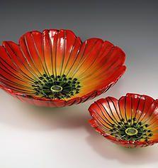 Orange Poppy Flower Shaped Bowls by ceramic artist Natalya Sots♥༺✿༻♥