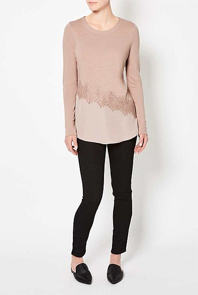Linen Lace Woven Splice Top | Lookbook