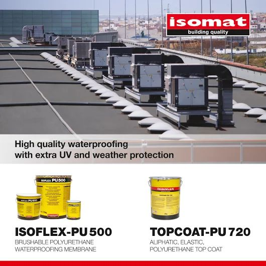 For highly demanding waterproofing, apply #ISOFLEX-PU 500, the polyurethane, waterproofing liquid membrane for terraces, and ensure extra UV and weather protection in combination with the elastic, polyurethane coating #TOPCOAT-PU 720.