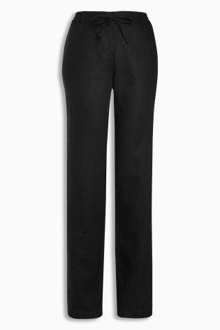 Black Linen Blend Parallel Trousers