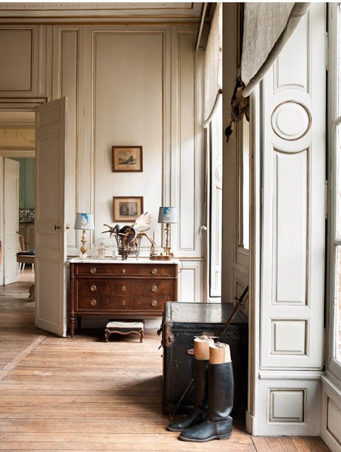 My French Country Home, French Living - Sharon Santoni. Beautiful french panelling off white grey