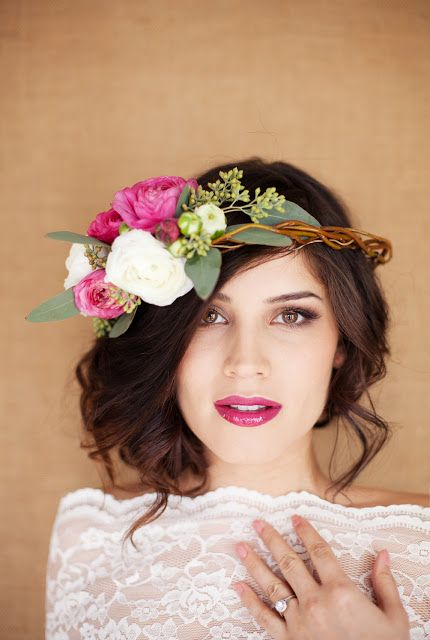 Hair and Make-up by Steph: Fresh Flower Tips (I really like this hairstyle and I even like the flower crown but would prefer it worn slung low so the flowers appear next to her neck on the right side)
