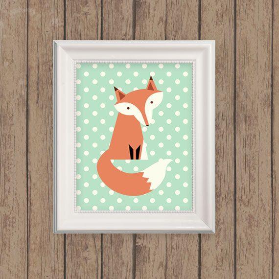 Fox Print Polka Dot Fox Woodland Nursery by MooseberryPrintShop, $18.00