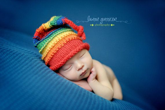 Rainbow Newborn Knit Hat Celebrate PRIDE Rainbow by knoodleknits, $24.00