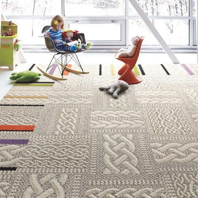 Clever idea from Flor: Knotwork carpet tiles you can mix and match to form an area rug. Love this intricate cable-knit sweater pattern