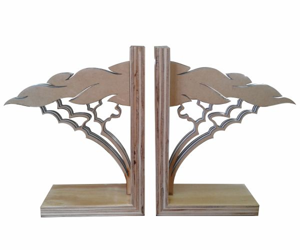 Acacia Bookends made from re-constituted plywood and white perspex. #office #books #bookend #wood