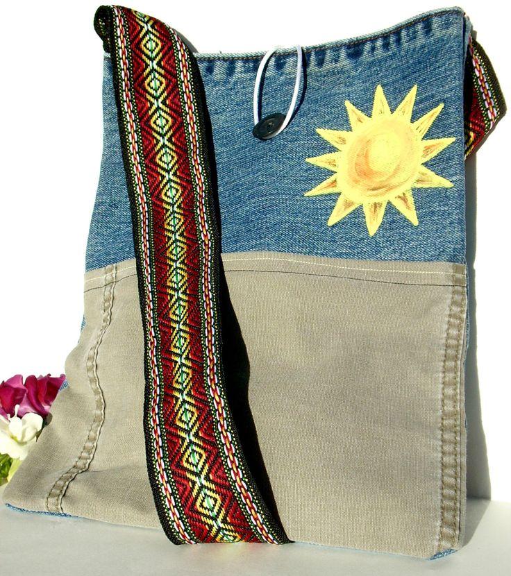 Denim Crossbody Bag - Sunshine Hand-Painted Purse - Crossbody Fabric Handbag - Hippie Medium Jean Denim Fabric Handbag - Upcycled Denim Bag by SnowywindsStudios on Etsy