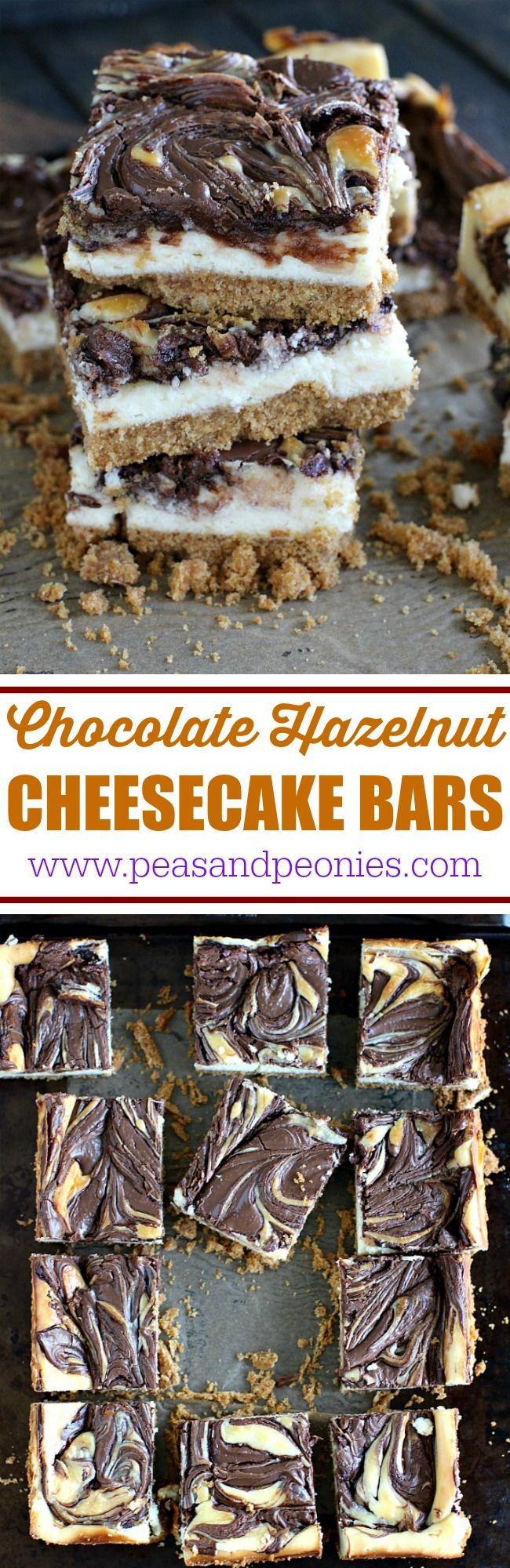 Chocolate Hazelnut Cheesecake Bars that are incredibly easy to make and a delight to eat with a honey graham crust and a hazelnut chocolate filling. @acmemarkets #MySignatureMoments #sponsored