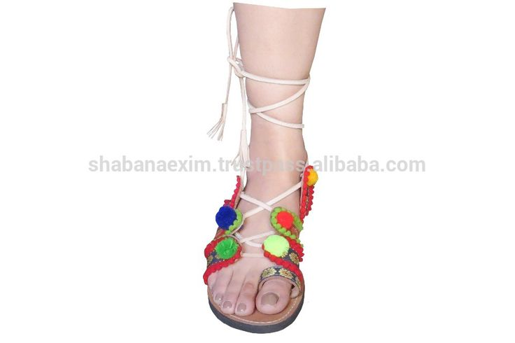 Check out this product on Alibaba.com APP Leather footwear pompom sandals casual slip-on flip-flop India handmade slippers