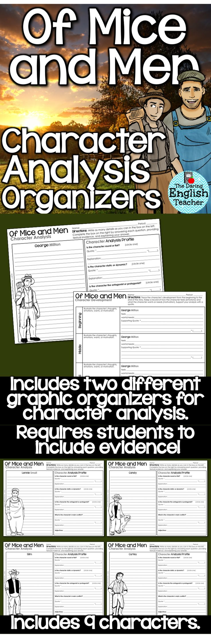 "Analyze the characters in John Steinbeck's novel ""Of Mice and Men"" with these character analysis graphic organizers. American literature."