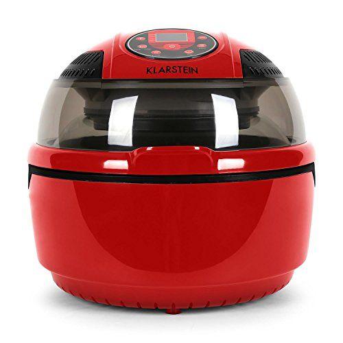 Klarstein Vitair Hot Air Fryer Grill Bake Halogen Heating Healthy Oil Free (1400 W, 9 L, Easy to Clean) Red