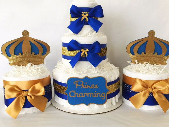 charming diaper cake in royal blue and gold prince theme baby shower