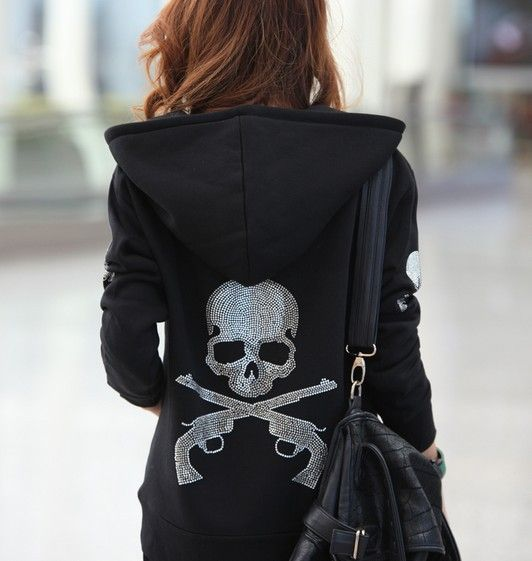 2013 Autumn European Punk Rock Style Cotton Hoodies Spliced Rhinestones Double…