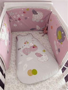 Protector de cuna bordado bebé tema Nidito, Habitación bebé
