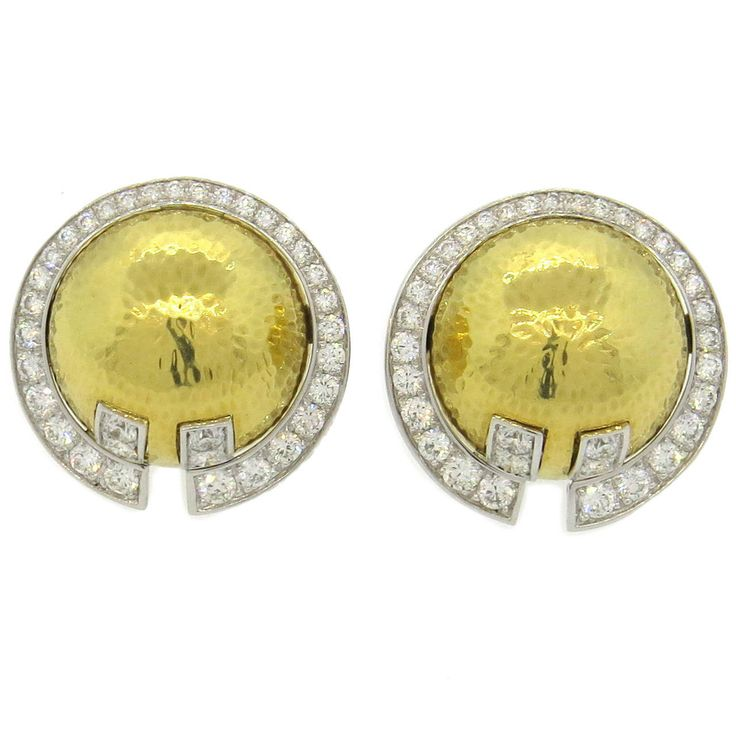 Important David Webb Diamond Hammered Gold Platinum Earrings | See more rare vintage More Earrings at http://www.1stdibs.com/jewelry/earrings/more-earrings