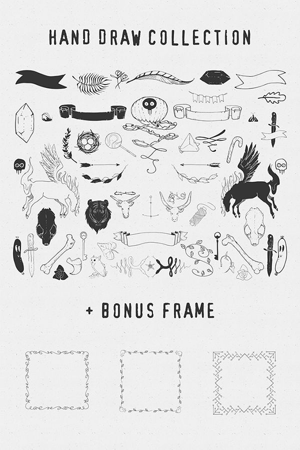 Sable kit 2, hand drawn #vector collection | hipster #hand #drawn #freebie