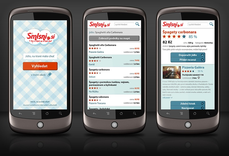 GUI design of Android mobile app for project Smlsni.si