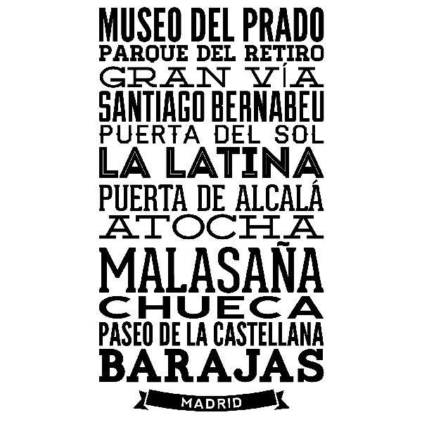 Vinilos Decorativos: Tipográfico Calles de Madrid