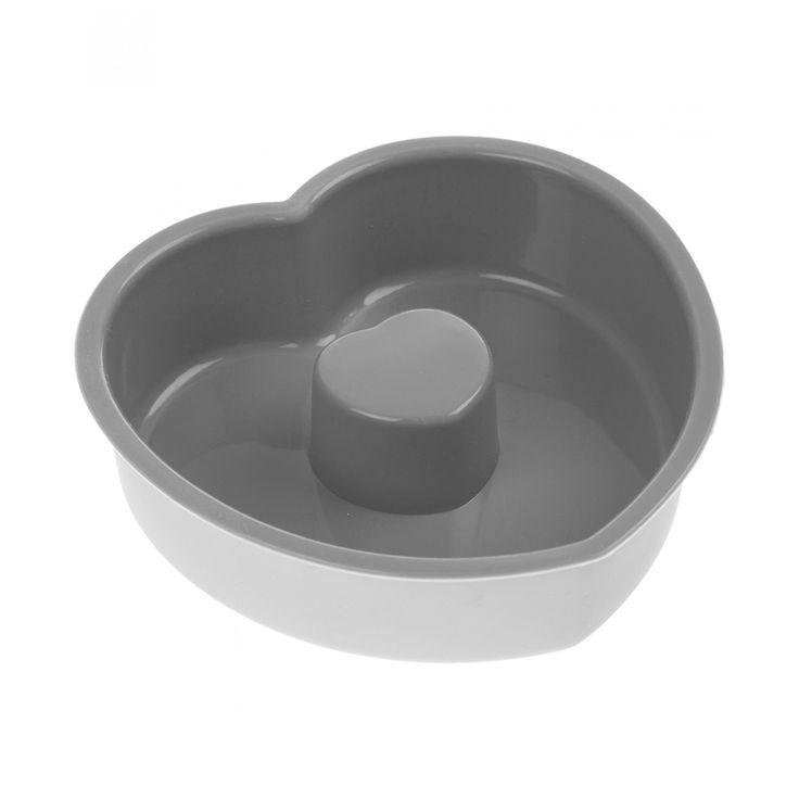 Molde Professional Gourmet para pastel elaborado en silicón flexible color gris con forma de corazón.