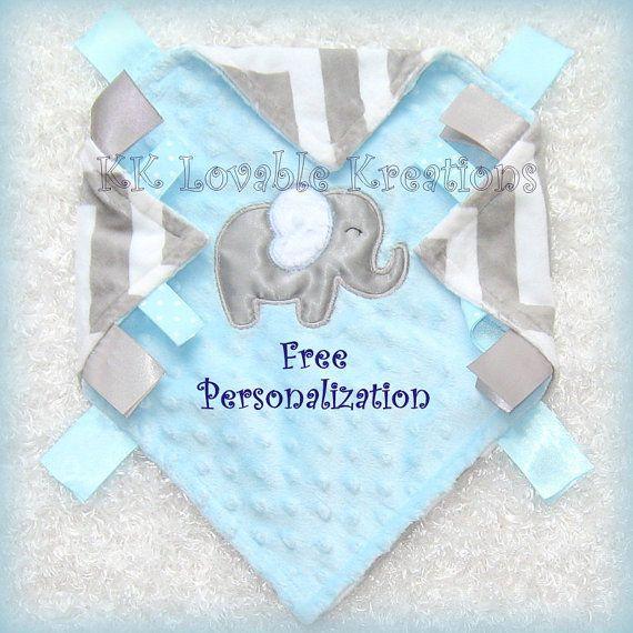 53 best personalized tag blankets images on pinterest tag blanket elephant blanket free personalization baby boy blanket blue gray chevron minky satin grosgrain ribbons sensory toy lovey lovie lovy negle Gallery