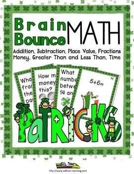 Our St. Patrick's Day Brain Bounce game is like our popular Candy Brain Bounce that so many of y'all have commented on. It helps your kids practice addition, subtraction, greater than, and less than, place value, money and clocks and fractions. This great math game is one of our new Brain Bounce games that facilitate ELA and Math skills for your kids. You can also use these cards in a center or as a Scoot game.