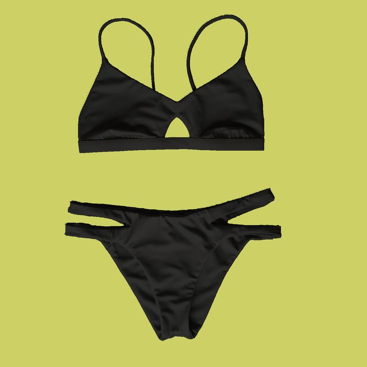 BLACK to basics ♻️ Made seamlessly from recycled fishing nets recovered from our oceans. Barekini can accommodate those who have a bigger bust with a small to average under bust. The fixed support band has 3 notches to choose from and remains the same measurement through the sizes- only the coverage increases. Sporty cutout bikini top and split side curved bikini bottoms in jet black. COMING SOON!