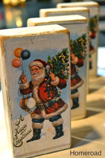 Christmas Postcard Blocks. Vintage Christmas CraftsChristmas Card ...
