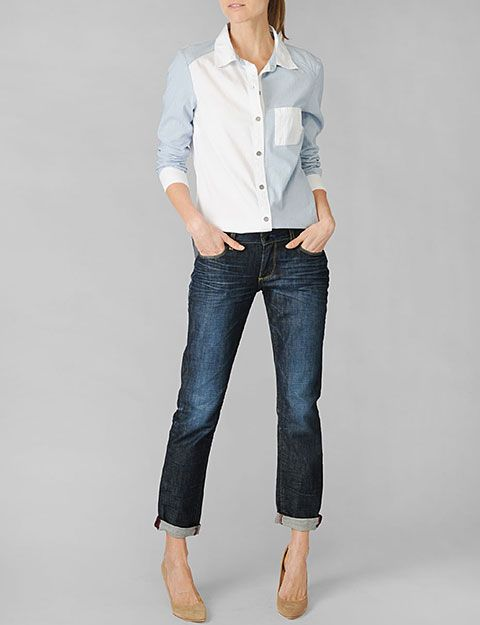 Paige denim eden colorblocked shirt ava chambray for Johnny boden sale