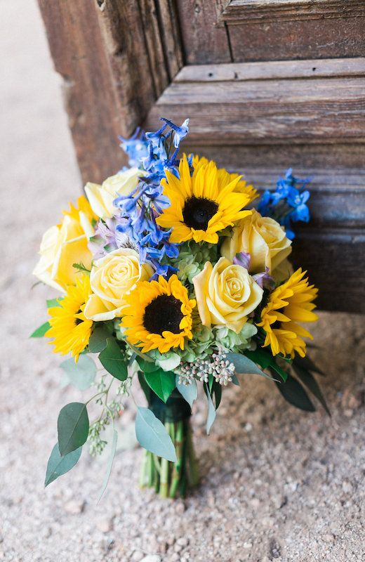 Yellow & Blue | Bride's Bouquet | Hill Country Wedding | Wildflowers | Texas Wedding | Austin Wedding | Bouquet | Sunflowers | Yellow Rose | Lindsay + Paul | Pearl Events Austin | www.pearleventsaustin.com