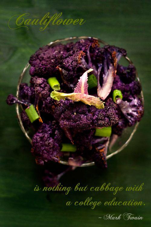 Garlicky Oven Roasted Purple Cauliflower with A Splash of Lemon Juice Recipe  | #vegetable #cauliflower