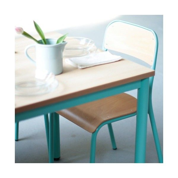véritable table d'école 180cm turquoise 100% made in France