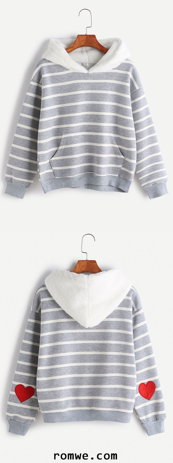 Striped Sleeve Heart Patch Pocket Sweatshirt With Fuzzy