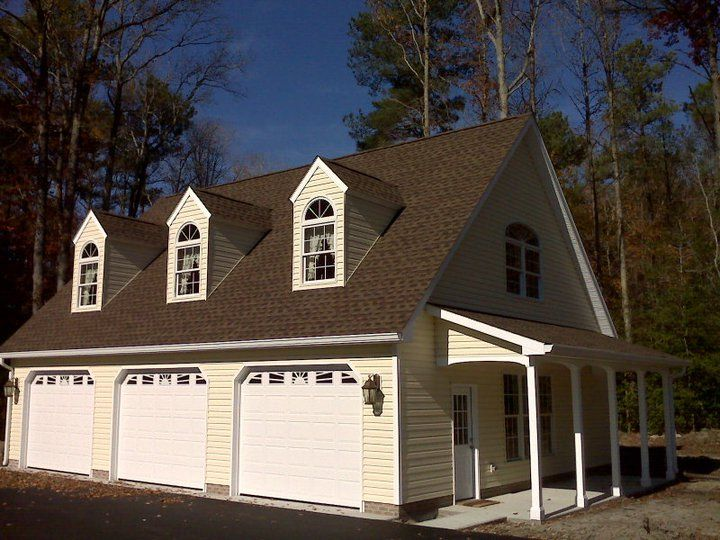 Custom 32 39 x 40 39 3 car garage built by c e mills general for Garage with dormers