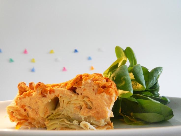 quiche van kikkererwten, tofu, zongedroogde tomaten, ui en artisjokharten #veganistisch #hartige_taart