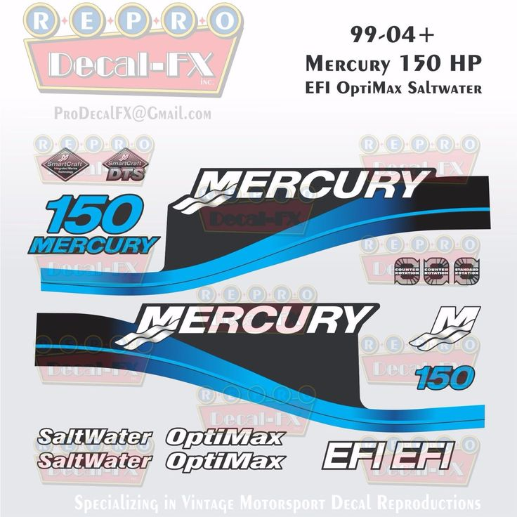 1999-04 Mercury 150HP Blue Decals EFI OptiMax Saltwater 15pc Repro Outboard 2004